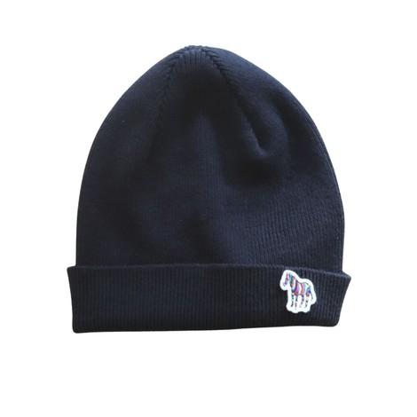 PS Paul Smith Zebra Logo Ribbed Lambswool Beanie Hat in Navy