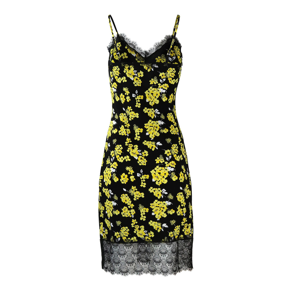 Michael Kors Floral Slip Dress Yellow and Black
