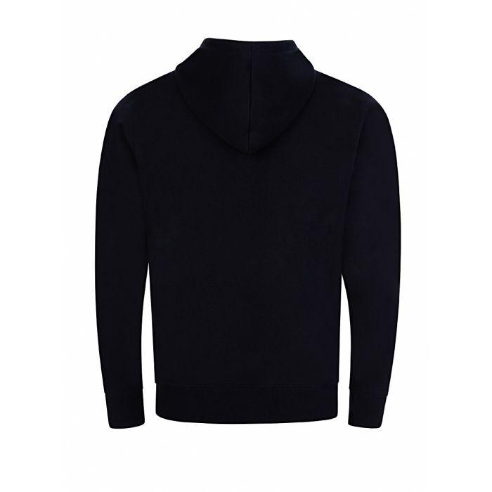 PS Paul Smith Organic-Cotton Zip-Up Zebra Logo Hoodie Black