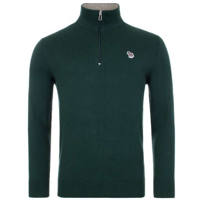 PS Paul Smith Zebra Logo Pullover Zip Neck Green