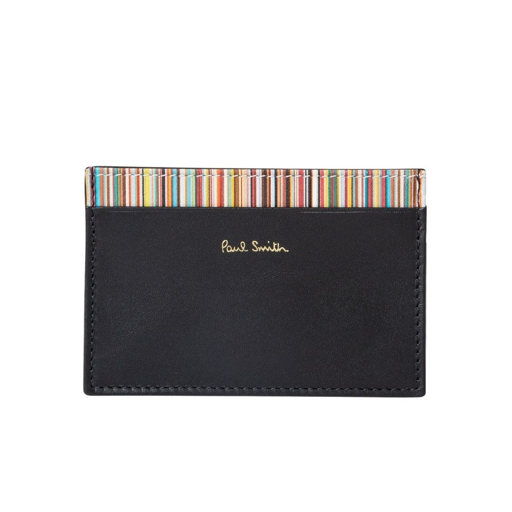 Paul Smith Leather Credit Card Holder With Signature Stripe Trim Black