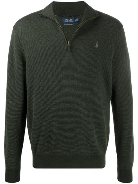 Ralph Lauren Menswear Textured Half Zip Jumper Olive