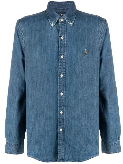 Ralph Lauren Menswear Slim Fit Denim Sport Shirt Denim