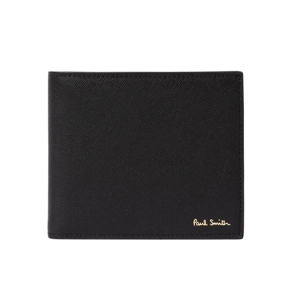 Paul Smith Leather 'Mini Kings Cross' Print Interior Billfold Wallet Black