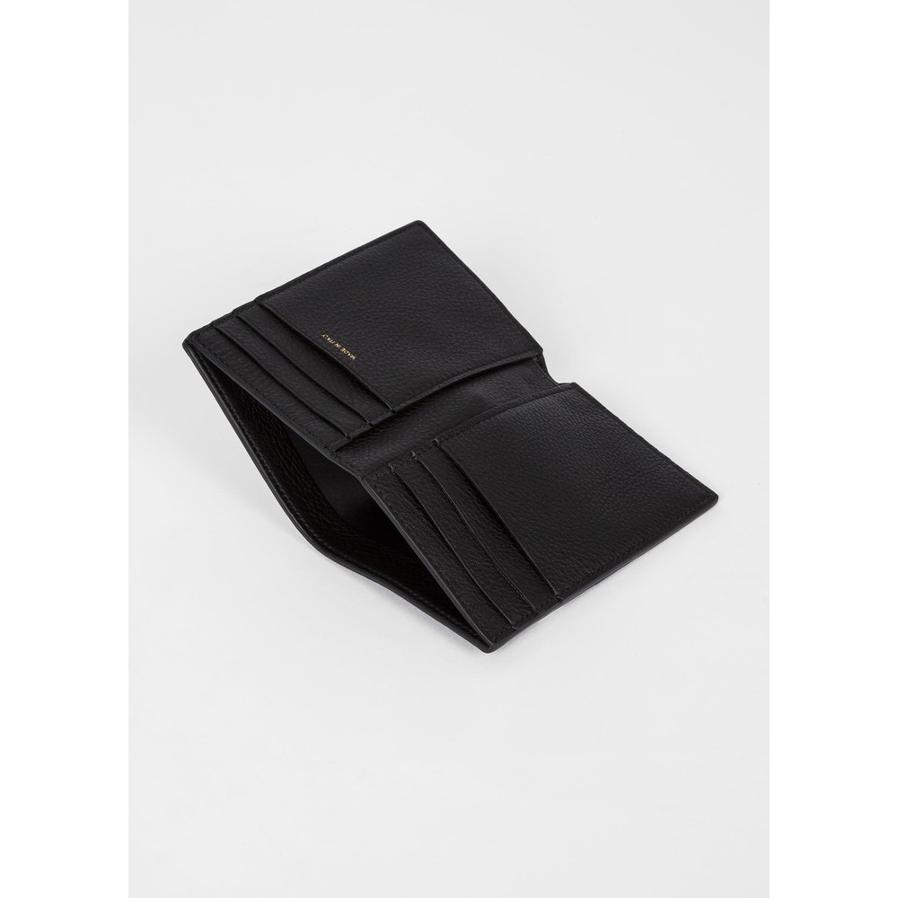 Paul Smith Leather Credit Card Wallet With 'Signature Stripe' Insert Black