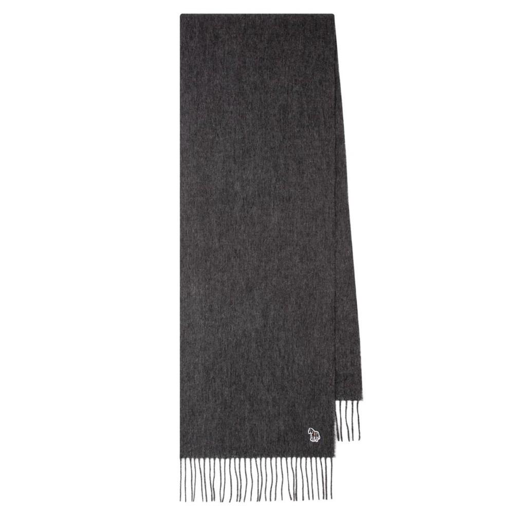 PS Paul Smith Zebra Logo Wool Scarf Grey