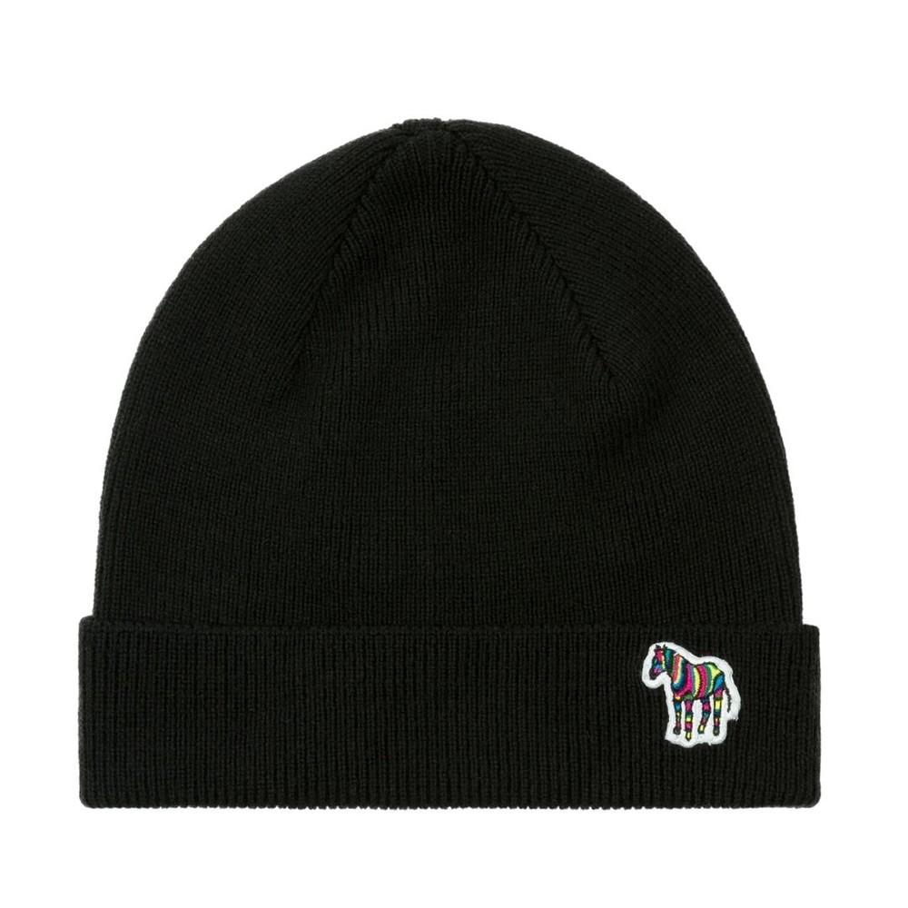 PS Paul Smith Zebra Logo Ribbed Lambswool Beanie Hat Black