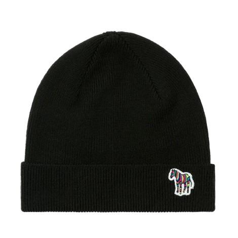 PS Paul Smith Zebra Logo Ribbed Lambswool Beanie Hat in Black