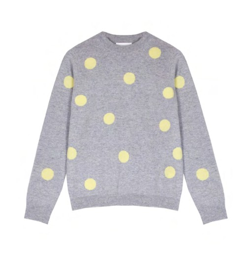Cocoa Cashmere Fable Polka Dot Cashmere Jumper Grey