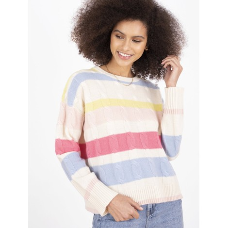 Cocoa Cashmere Hailey Stripe Cable Detail Cashmere Jumper