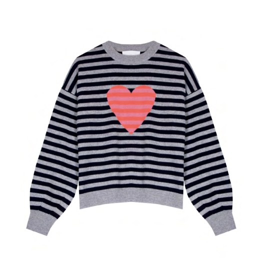 Cocoa Cashmere Heart Stripe Detail Cashmere Jumper Navy