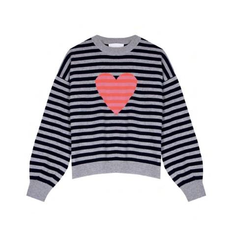Cocoa Cashmere Heart Stripe Detail Cashmere Jumper