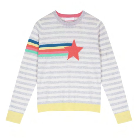 Cocoa Cashmere Bay Shooting Star Stripe Detail Cashmere Jumper Grey
