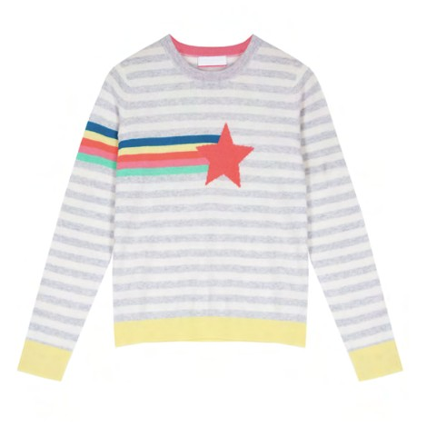 Cocoa Cashmere Bay Shooting Star Stripe Detail Cashmere Jumper