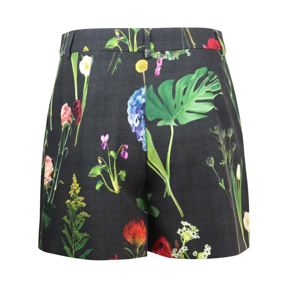 Moschino Boutique Botanic Flower Printed Cady Shorts Black