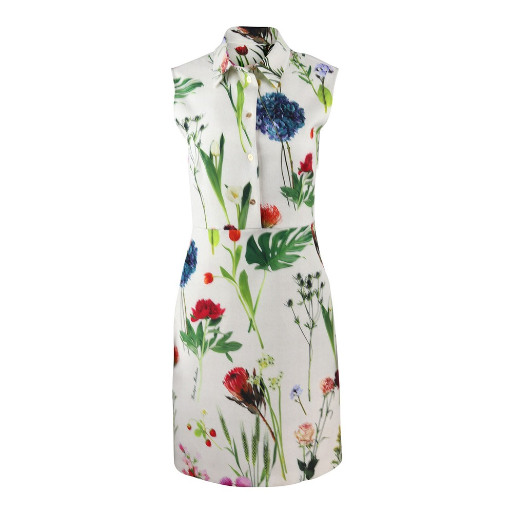 Moschino Boutique Botanic Flower Printed Cady Dress Ivory