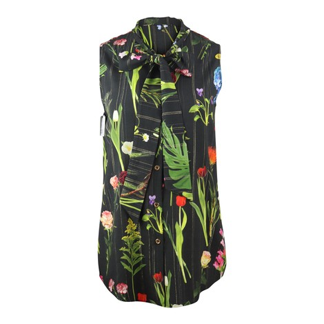 Moschino Boutique Botanic Flower Printed Sleeveless Shirt