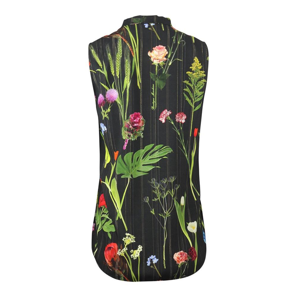 Moschino Boutique Botanic Flower Printed Sleeveless Shirt Black