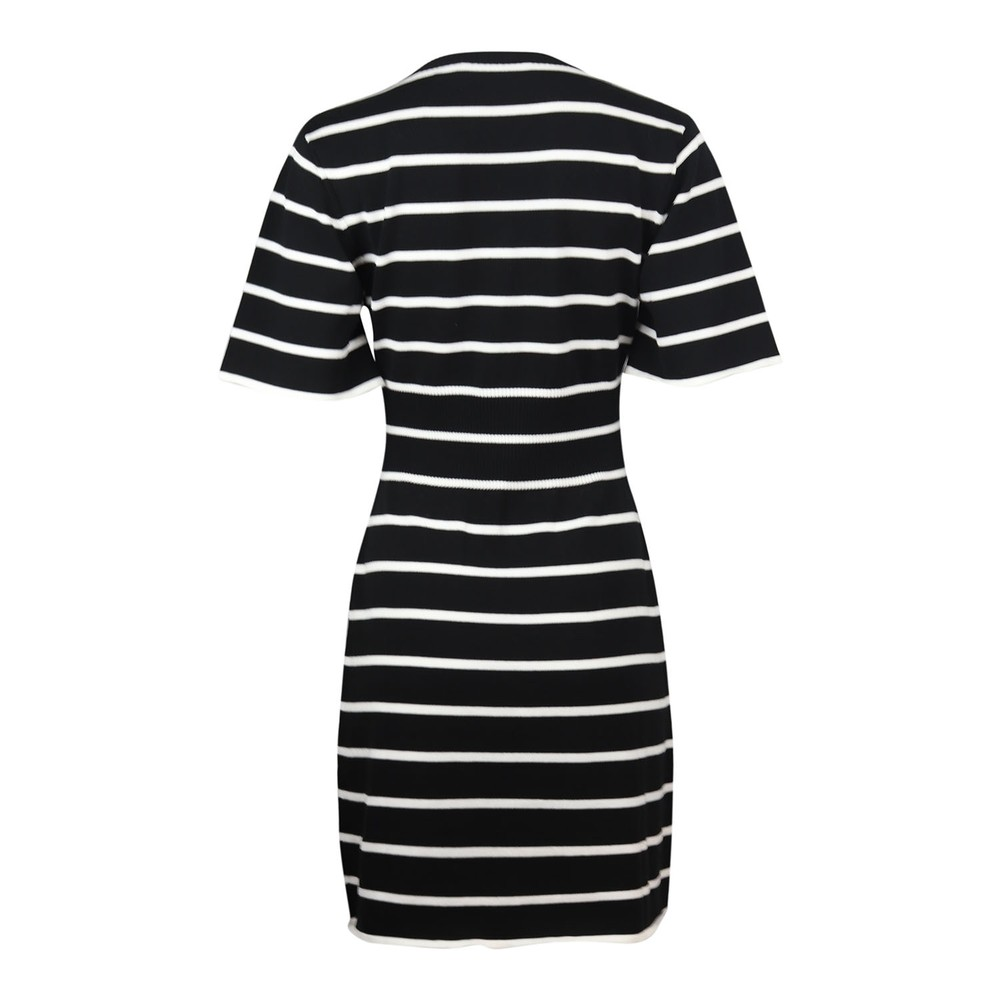 Moschino Boutique Striped Knitted Dress Black & White