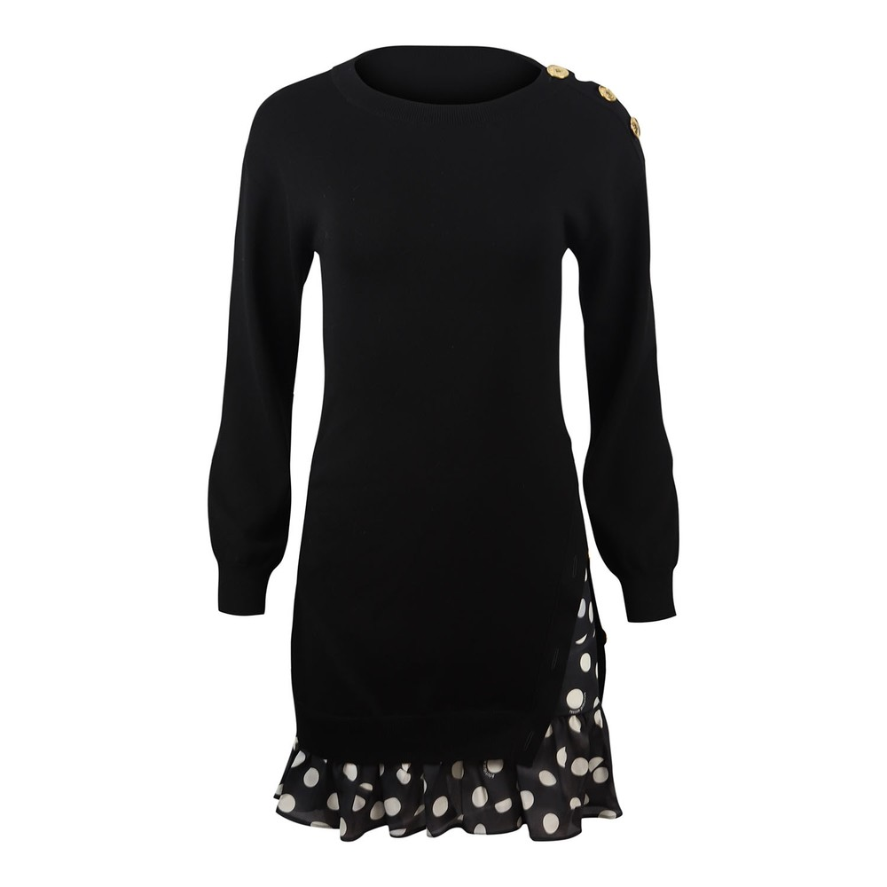 Moschino Boutique Knitted Dress with Spot Frill Detail Black