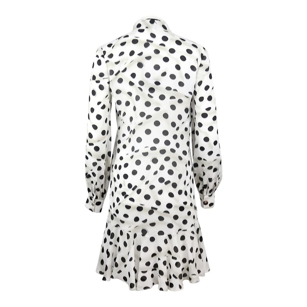 Moschino Boutique Polka Dot Print Silk Dress Ivory