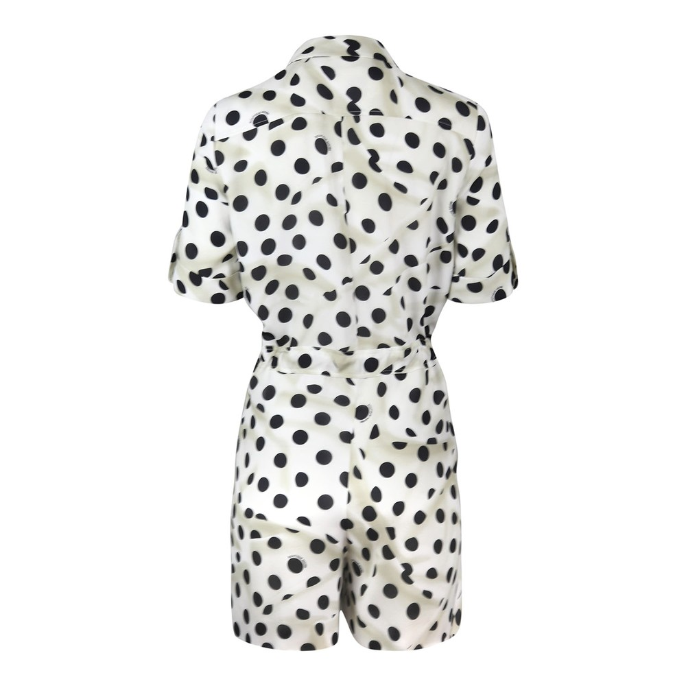 Moschino Boutique Polka Dot Silk Playsuit Ivory