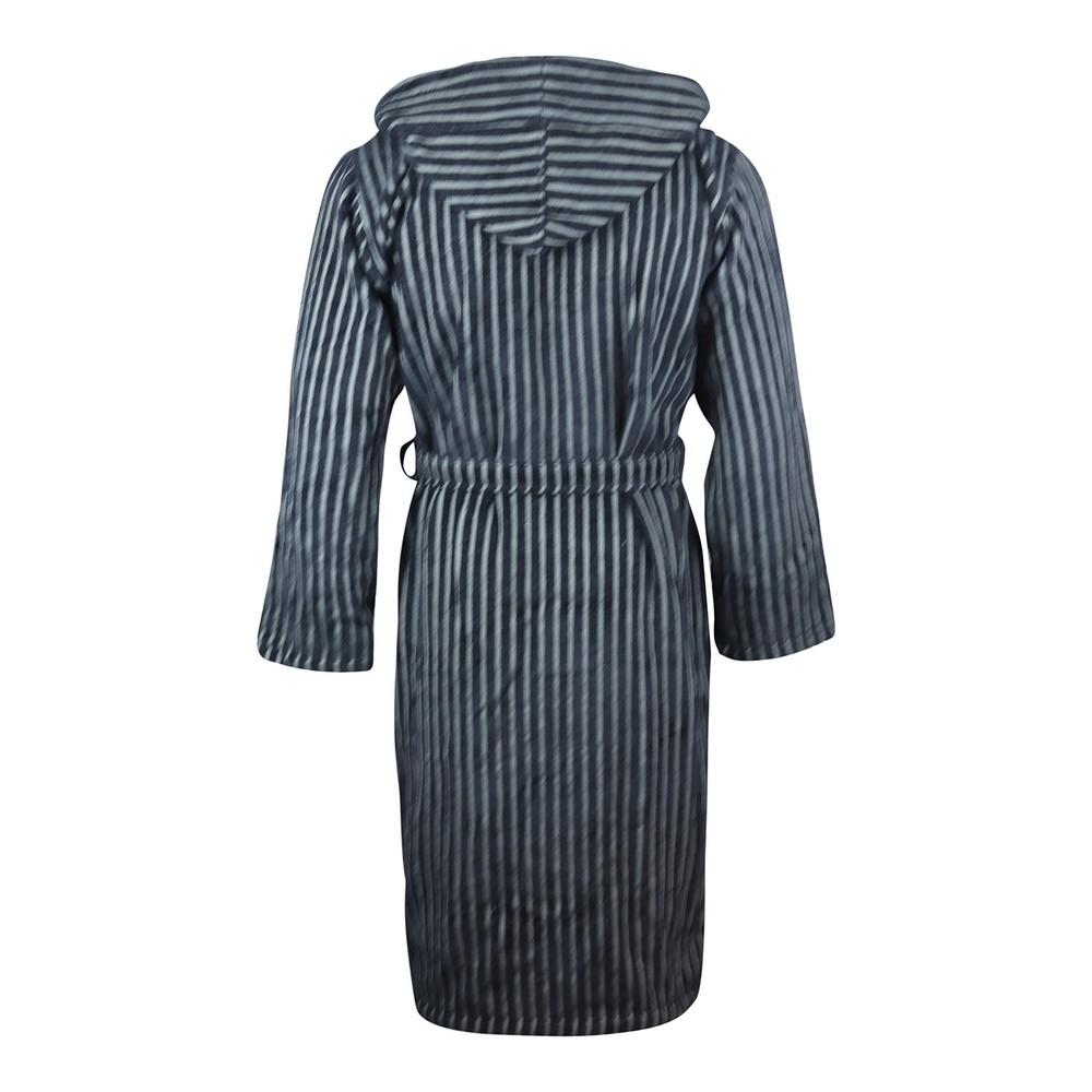 Emporio Armani Hooded Striped Bathrobe Navy