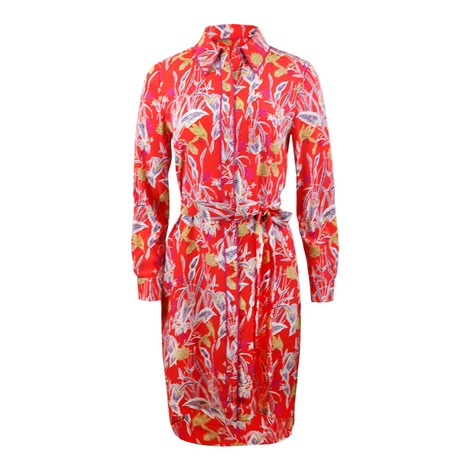 DVF Prita Bali Flower Silk Crepe De Chine Shirt Dress