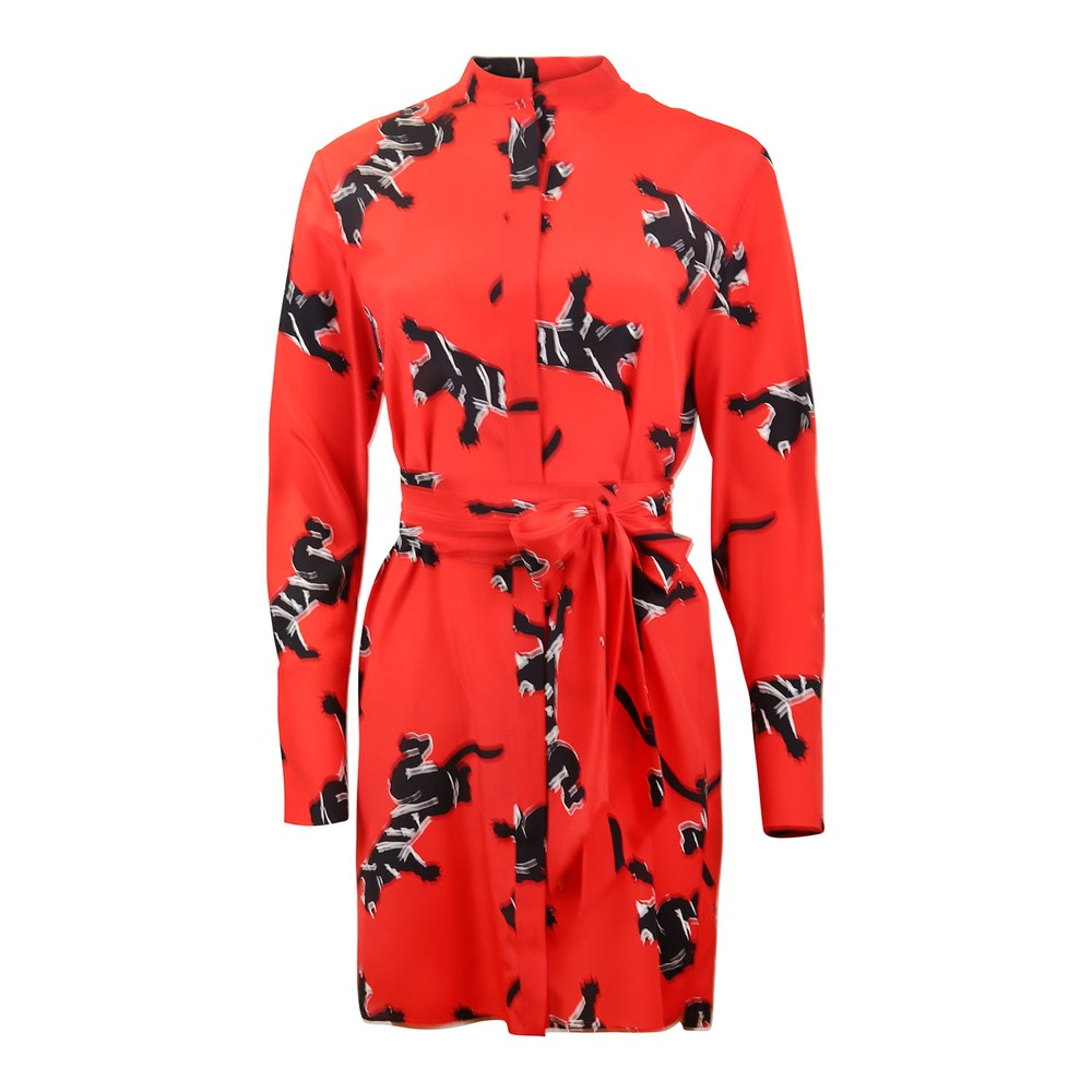 DVF Long Sleeve Shirt Dress - Climbing Jag Red