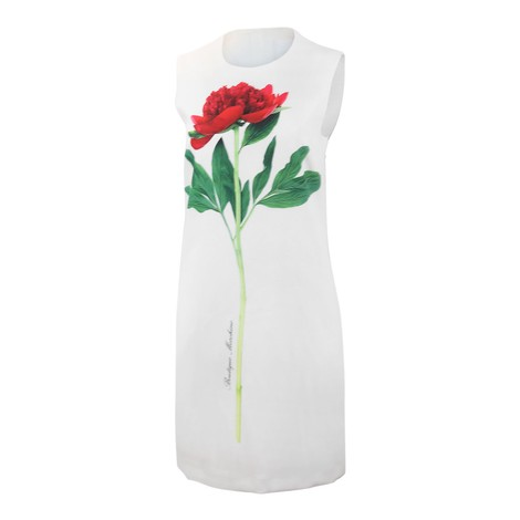 Moschino Boutique Flower Cady Dress in White