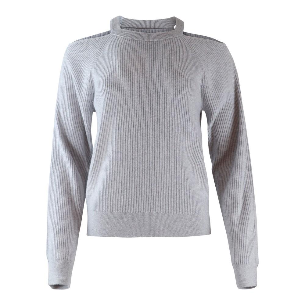 fcfc5e9224b J Brand Cold Shoulder Cashmere Jumper Light grey