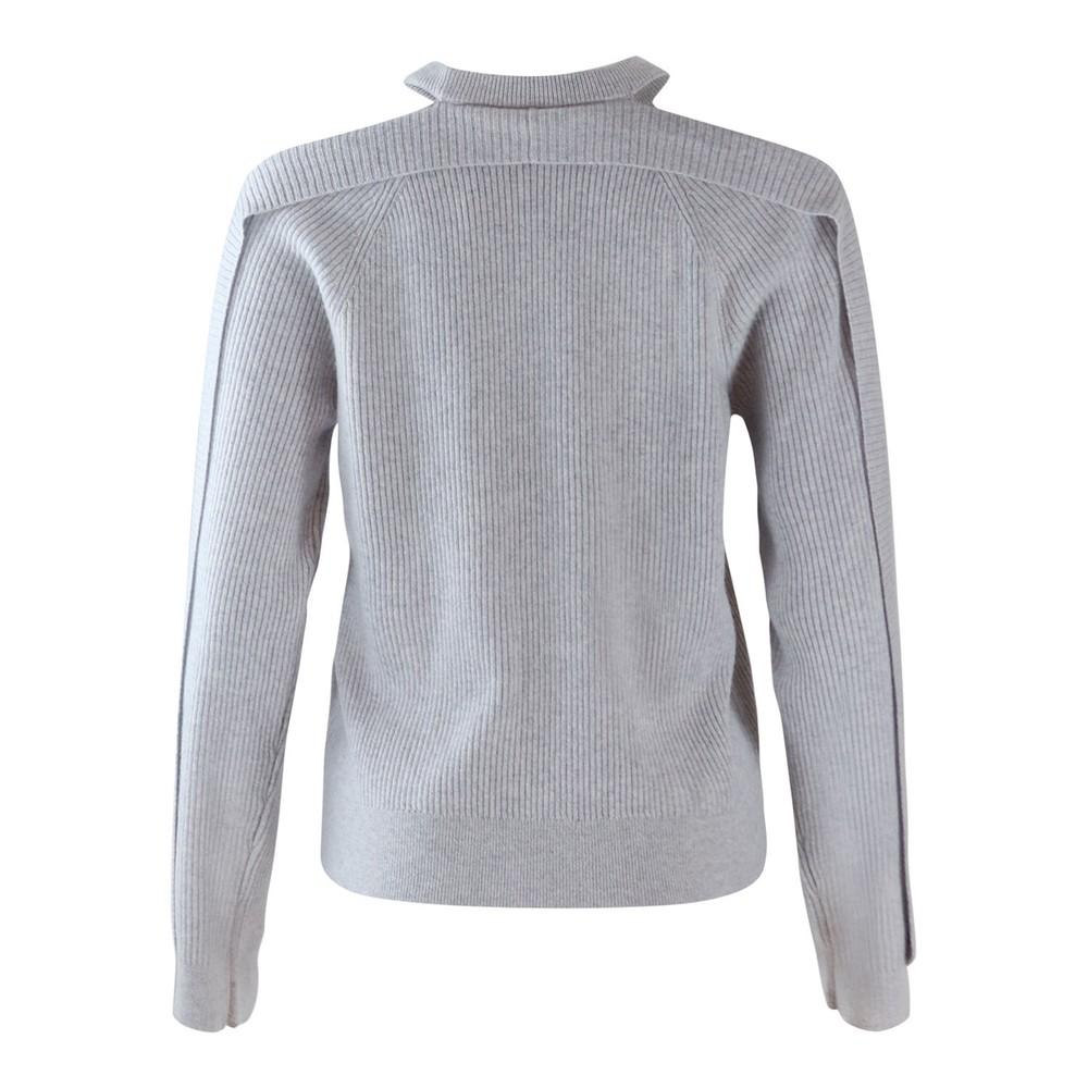 J Brand Cold Shoulder Cashmere Jumper Light grey