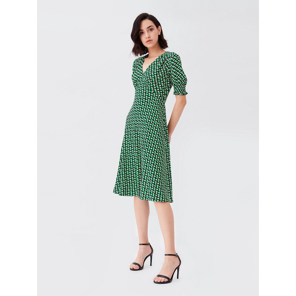 DVF Jemma 3D Chain Crepe Midi Dress Green