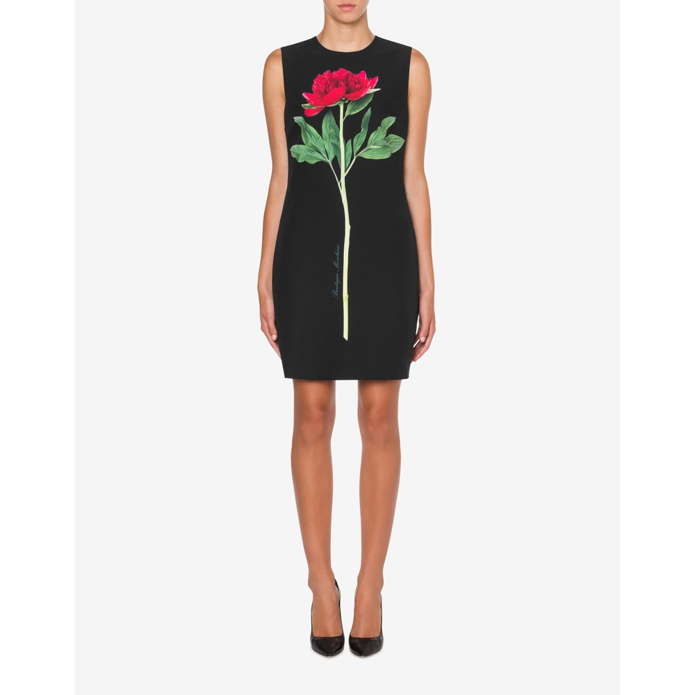Moschino Boutique Flower Cady Dress Black