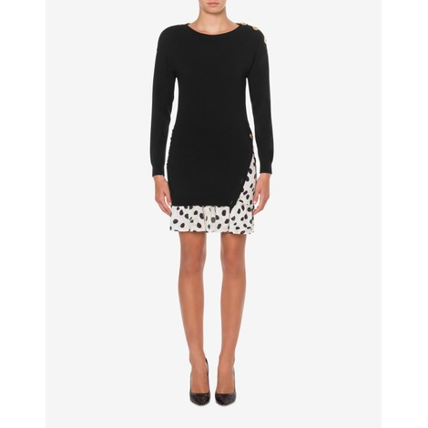 Moschino Boutique Knitted Dress with Spot Frill Detail