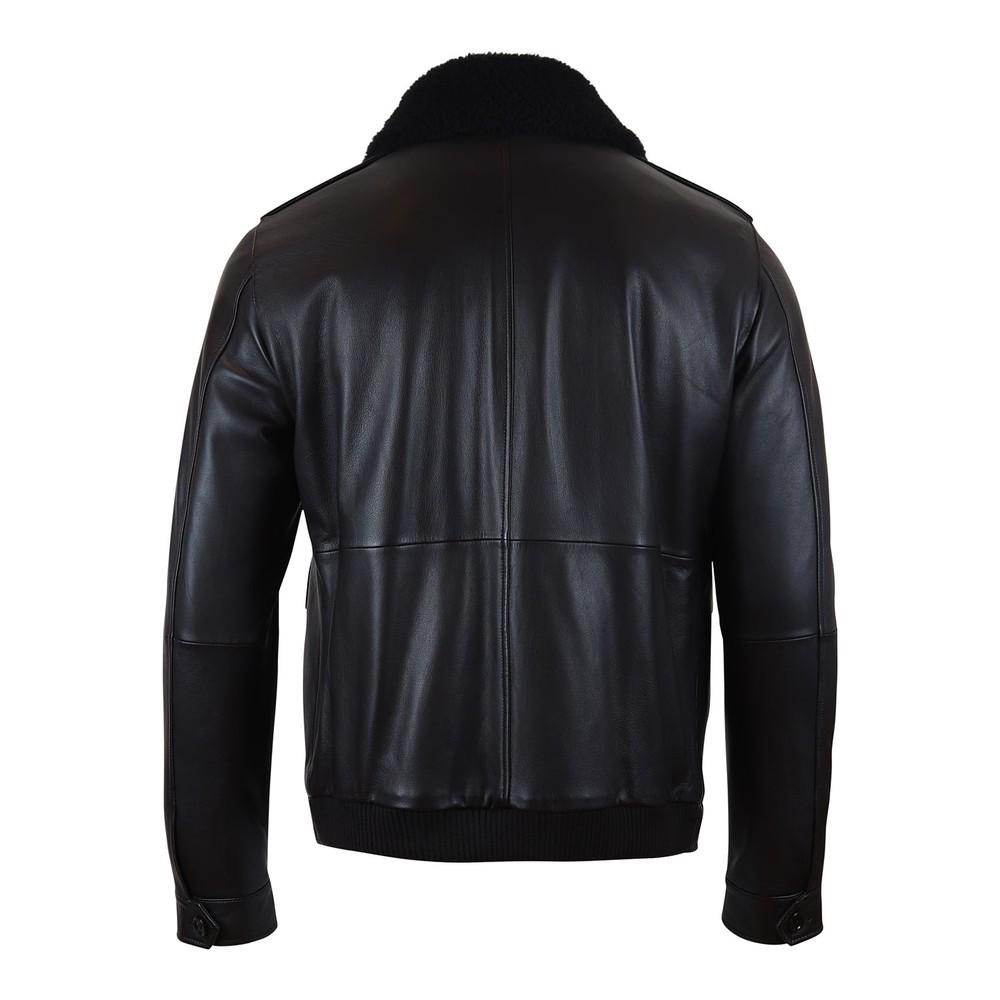 Hugo Boss Graven Leather Jacket Dark Brown