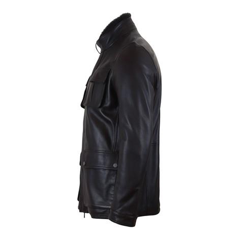 Hugo Boss Gembu Fur Collar Leather Jacket