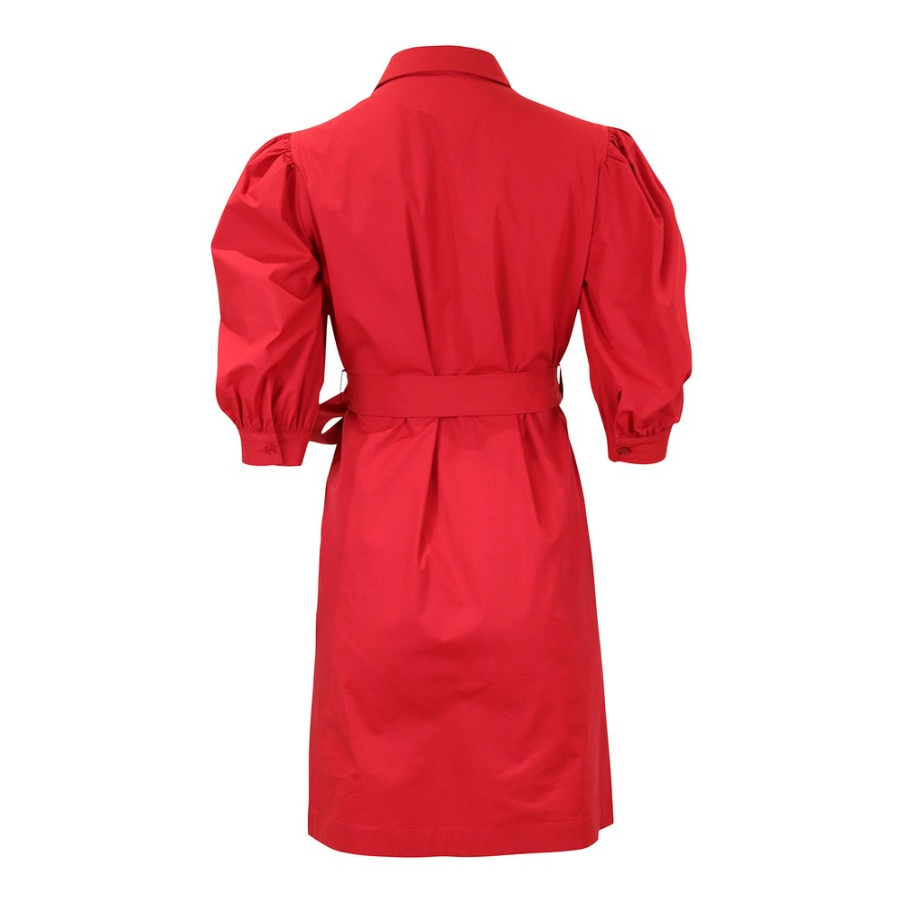 Moschino Boutique Puff Sleeve Shirt Dress Raspberry