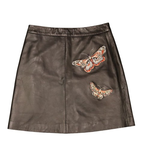 Set Butterfly Leather Skirt