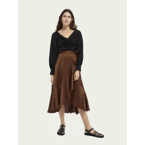 Scotch & Soda Mini Leopard Wrap Skirt