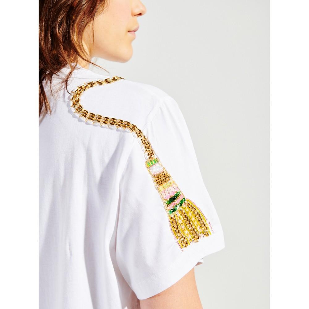 Hayley Menzies Tassel Beaded T-Shirt White