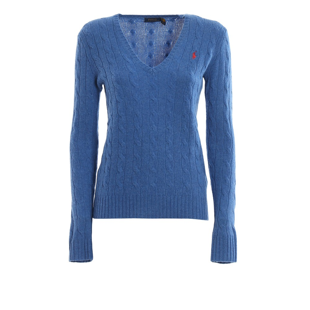 Ralph Lauren Womenswear Cashmere Mix V Neck Knit Blue