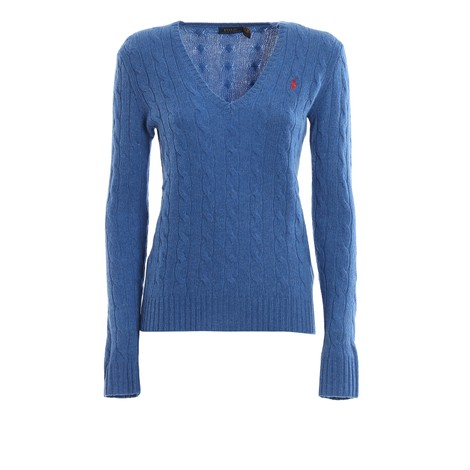 Ralph Lauren Womenswear Cashmere Mix V Neck Knit