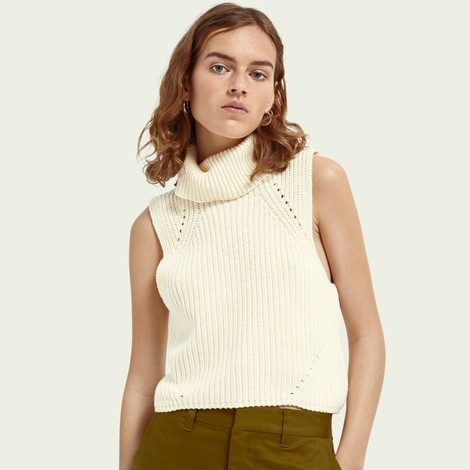 Scotch & Soda Sleeveless High Neck Knit