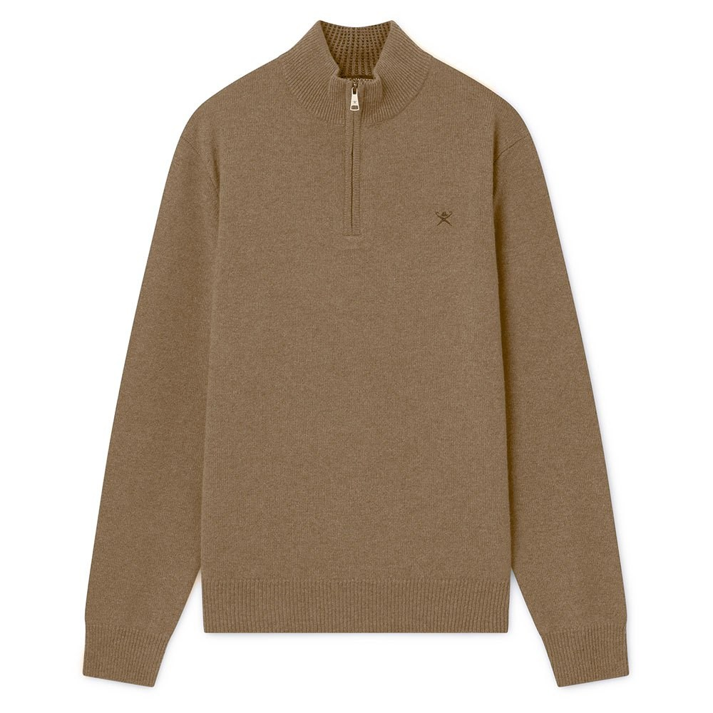 Hackett Lambswool Half Zip Sweater Beige