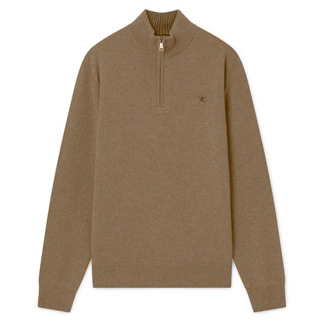 Hackett Lambswool Half Zip Sweater in Beige