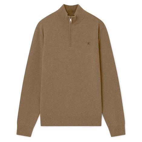 Hackett Lambswool Half Zip Sweater in Beige