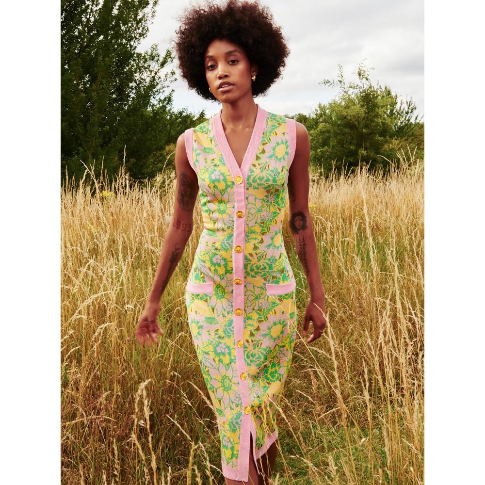 Hayley Menzies Samui Blooms Jacquard Midi Vest Dress Pink