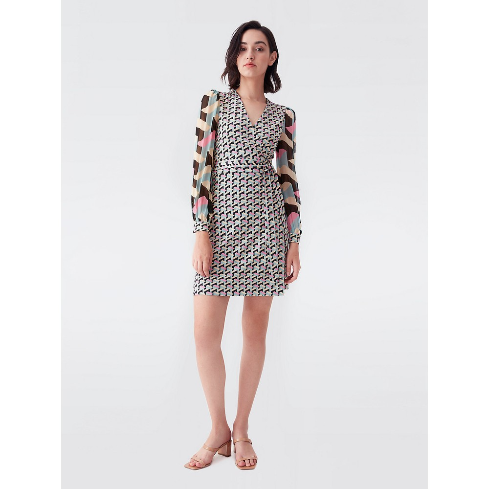 DVF Gala Mini Wrap Dress Multi