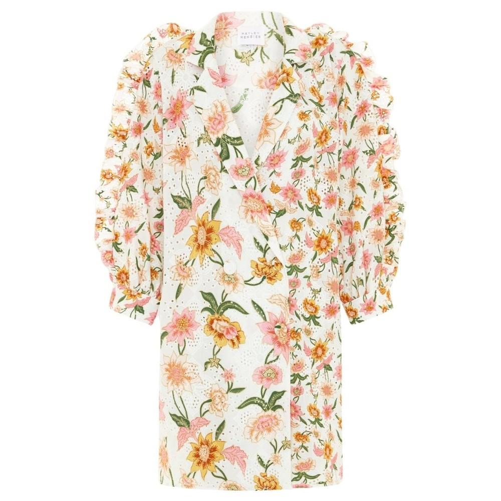 Hayley Menzies Daydream Broderie Tux Mini Dress White